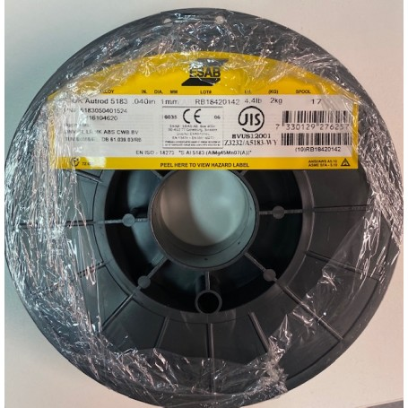 FILO ESAB Alluminio OK Autrod 5183 DIAM. 1,0 bobina da kg.2 ideale per Rebel 215