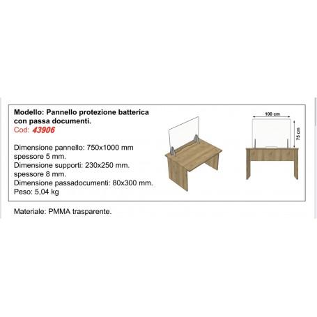 PANNELLO PROTEZIONE VIRUS/BATTERICA CON PASSADOCUMENTI MM.750 X 1000
